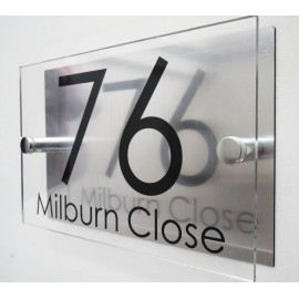 Contemporary HOUSE SIGN / PLAQUE / DOOR / NUMBER 1 - 9999/ GLASS EFFECT ACRYLIC