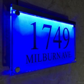 Large Crystal effect House Signs Plaques Door Numbers Name Plate Blue LED LIGHT