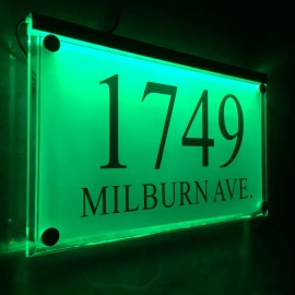 Large Crystal effect House Signs Plaques Door Numbers Name Plate Green LED LIGHT